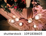 wedding table setting with... | Shutterstock . vector #1091838605