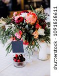 wedding table setting with... | Shutterstock . vector #1091838611