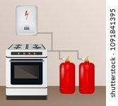 gas stove and boiler with... | Shutterstock .eps vector #1091841395