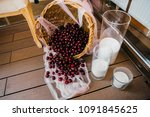 fruits and desserts on the... | Shutterstock . vector #1091845625