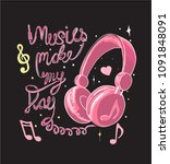 music slogan with headphone... | Shutterstock .eps vector #1091848091