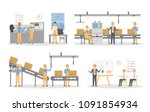 people at factory working set.... | Shutterstock . vector #1091854934