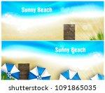 set of beach banner for poster...   Shutterstock .eps vector #1091865035