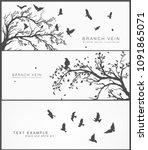 set of forest and birds banner... | Shutterstock .eps vector #1091865071