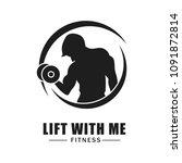 fitness logo isolated on white... | Shutterstock .eps vector #1091872814
