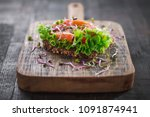 a healthy sandwich on a rustic... | Shutterstock . vector #1091874941