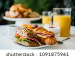 healthy breakfast served with... | Shutterstock . vector #1091875961