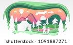 funfair   vector paper cut... | Shutterstock .eps vector #1091887271
