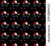 pattern  flowers on black... | Shutterstock . vector #1091889431