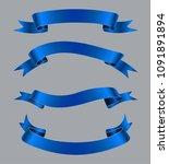 blue ribbons set.vector ribbon... | Shutterstock .eps vector #1091891894
