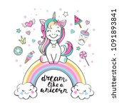cute unicorn on a rainbow and... | Shutterstock .eps vector #1091893841