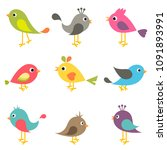 set of colorful birds | Shutterstock .eps vector #1091893991