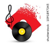 treble clef with vinyl record... | Shutterstock .eps vector #1091897345