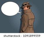 spy in raincoat and hat pop art ...   Shutterstock .eps vector #1091899559