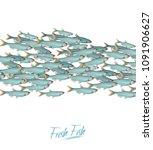 school of fish vector...   Shutterstock .eps vector #1091906627