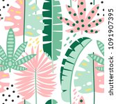 exotic leaves seamless pattern. ...   Shutterstock .eps vector #1091907395