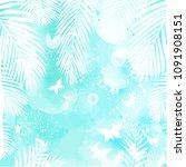 leaves on green watercolor... | Shutterstock .eps vector #1091908151
