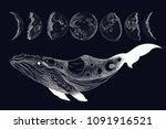 whale surreal tattoo. steering... | Shutterstock .eps vector #1091916521