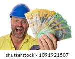 a workman excitedly showing a... | Shutterstock . vector #1091921507
