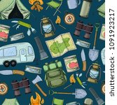 seamless pattern of travel... | Shutterstock .eps vector #1091923217
