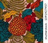 tropical pattern in doodle...   Shutterstock .eps vector #1091927957