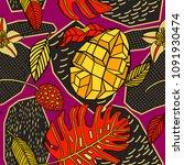 tropical pattern in doodle... | Shutterstock .eps vector #1091930474