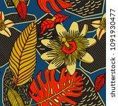 tropical pattern in doodle... | Shutterstock .eps vector #1091930477