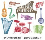 set of colorful musical...   Shutterstock .eps vector #1091930534