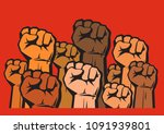 clenched fists of different... | Shutterstock .eps vector #1091939801