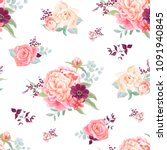 seamless pattern with flowers... | Shutterstock .eps vector #1091940845