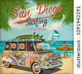 san diego california poster... | Shutterstock .eps vector #1091942291