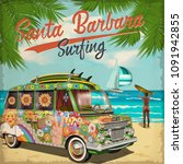 santa barbara california poster ... | Shutterstock .eps vector #1091942855