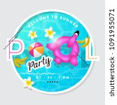 pool party summer vector... | Shutterstock .eps vector #1091955071