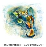 underwater inhabitants. sea... | Shutterstock . vector #1091955209