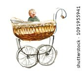 happy baby in a carriage.... | Shutterstock . vector #1091955941