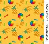 vector summer seamless pattern... | Shutterstock .eps vector #1091956901