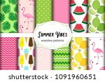 cute set of summer vibes...   Shutterstock .eps vector #1091960651