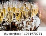 bottle of sparkling wine with... | Shutterstock . vector #1091970791