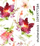 seamless summer pattern with... | Shutterstock . vector #1091977184