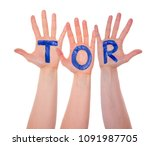 hands with tor means goal ... | Shutterstock . vector #1091987705