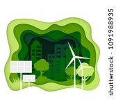 ecosystem concept. eco city... | Shutterstock .eps vector #1091988935