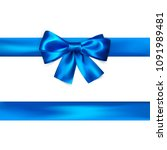 blue bow with ribbon isolated... | Shutterstock .eps vector #1091989481