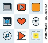 multimedia icons colored line... | Shutterstock .eps vector #1092001265
