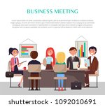 business meeting poster with... | Shutterstock .eps vector #1092010691