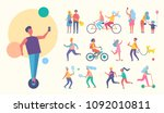 people doing sport active... | Shutterstock .eps vector #1092010811
