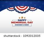 happy memorial day background...   Shutterstock .eps vector #1092012035