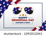 happy memorial day background...   Shutterstock .eps vector #1092012041
