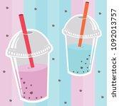 milkshake drink glass ice cream ...   Shutterstock .eps vector #1092013757