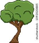 pixel art tree for video retro... | Shutterstock .eps vector #1092020885