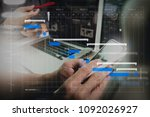 project manager working and... | Shutterstock . vector #1092026927
